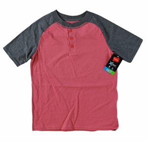 RGRiley | Hanes Boys Claret Red/ Charcoal Henley T-Shirts | Closeout