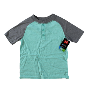 RGRiley | Hanes Boys Spring Green/ Grey Henley T-Shirts | Closeout