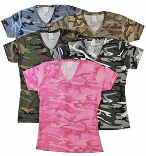 RGRiley | Womens Jersey Camouflage V Neck T-Shirts | Irregular