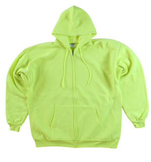 RGRiley | Mens Safety Green Zipper Hooded Sweat Shirts | Slightly Irregular