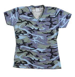 RGRiley | Womens Blue Camouflage V-Neck T-Shirts | Closeout