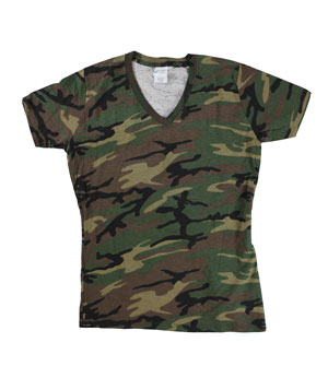 RGRiley | Womens Green Camo V-Neck T-Shirts | Closeout