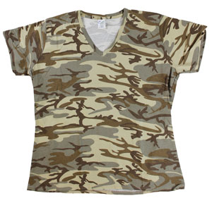RGRiley | Womens Tan Camo V-Neck T-Shirts | Closeout