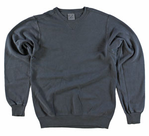 RGRiley | Mens Coal Garment Dyed Crew Neck Sweatshirts | Irregular