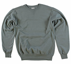 RGRiley | Mens Pewter Garment Dyed Crew Neck Sweatshirts | Irregular