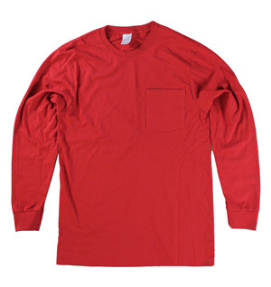 RGRiley | Big & Tall Red Long Sleeve Pocket T-Shirts | Closeout