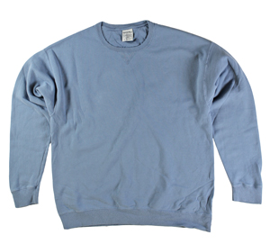 RGRiley | Mens Comfort Wash Soothing Blue Crew Sweatshirts | Irregular