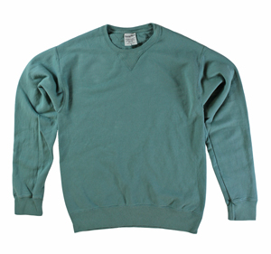 RGRiley | Mens Comfort Wash Cypress Green Crew Sweatshirts | Irregular