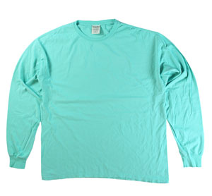 RGRiley | Mens Comfort Wash Mint Long Sleeve T-Shirts | Irregular