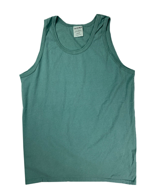 RGRiley | Mens Comfort Wash Cypress Green Tank Tops | Slightly Irregular