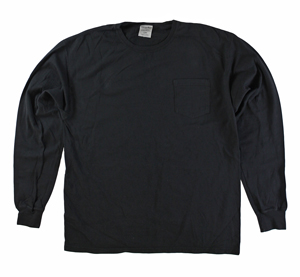RGRiley | Mens Comfort Wash Black Pocket Long Sleeve T-Shirts | Irregular