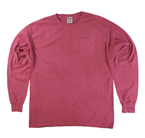 RGRiley | Mens Comfort Wash Cayenne Pocket Long Sleeve T-Shirts | Irregular