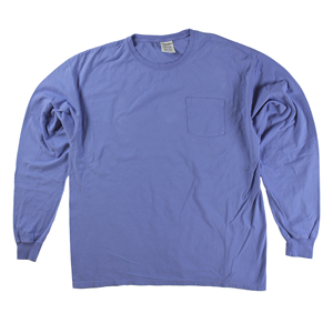 RGRiley | Mens Comfort Wash Forte Blue Pocket Long Sleeve T-Shirts | Irregular