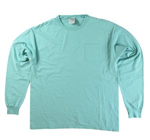 RGRiley | Mens Comfort Wash Mint Pocket Long Sleeve T-Shirts | Irregular