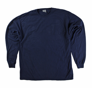 RGRiley | Mens Comfort Wash Navy Pocket Long Sleeve T-Shirts | Irregular