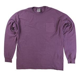 RGRiley | Mens Comfort Wash Plum Raisin Pocket Long Sleeve T-Shirts | Irregular