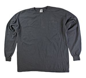 RGRiley | Mens Comfort Wash Railroad Grey Pocket Long Sleeve T's | Irregular