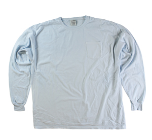 RGRiley | Mens Comfort Wash Soothing Blue Pocket Long Sleeve T's | Irregular