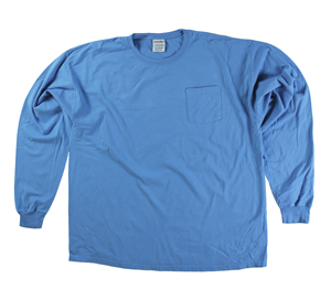 RGRiley | Mens Comfort Wash Sky Blue Pocket Long Sleeve T-Shirts | Irregular