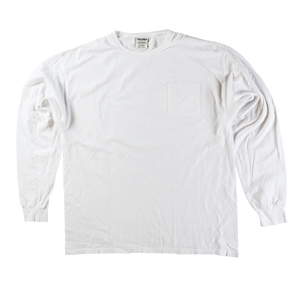 RGRiley | Mens Comfort Wash White Pocket Long Sleeve T-Shirts | Irregular