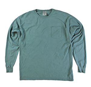 RGRiley | Mens Comfort Wash Cypress Green Pocket Long Sleeve T-Shirts | Irregula