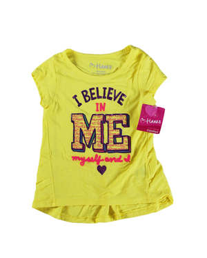 RGRiley | Hanes Girls Yellow Graphic Peplum T-Shirts | Closeout