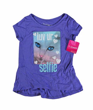 RGRiley | Hanes Girls Lavender Graphic Peplum T-Shirts | Closeout