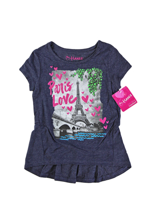 RGRiley | Hanes Girls Navy Heather Graphic Peplum T-Shirts | Closeout