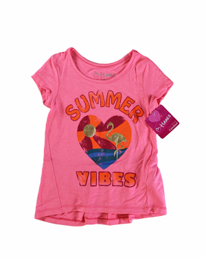 RGRiley | Hanes Girls Neon Pinkpop Graphic Peplum T-Shirts | Closeout