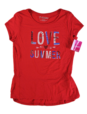 RGRiley | Hanes Girls Red Spark Graphic Peplum T-Shirts | Closeout
