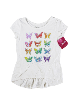 RGRiley | Hanes Girls White Graphic Peplum T-Shirts | Closeout