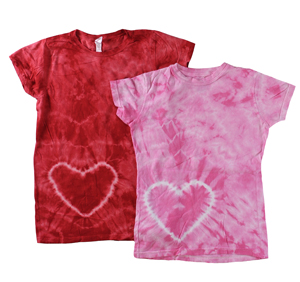 RGRiley | Junior Heart Print Tie Dye T-Shirts | Closeout