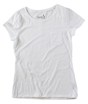 RGRiley | Womens White Jersey Pocket T-Shirts | Irregular