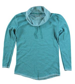 RGRiley | Womens Teal Hthr Cowl Neck Sweatshirts | Irregular