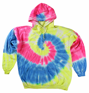 RGRiley | Mens Neon Rainbow Tie Dye Pullover Hoodies | Imperfects & Thirds
