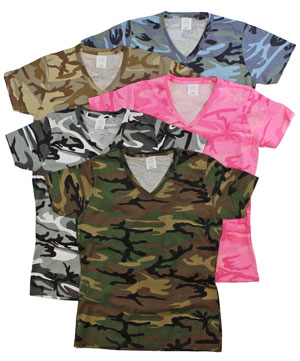 RGRiley | Womens Camouflage V-Neck T-Shirts | Imperfect