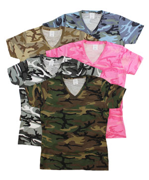 RGRiley | Womens Mixed Camouflage V-Neck T-Shirts | Imperfect
