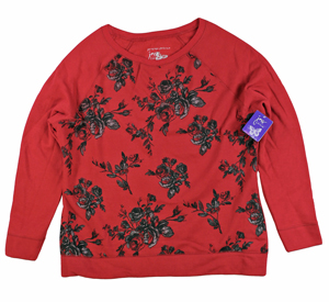 RGRiley | Womens Plus Size Bulk Red Printed Sweatshirt | Closeout