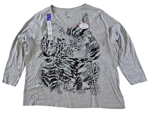RGRiley | Plus Size Long Sleeve Light Steel Print Tee | Bulk Wholesale Closeout
