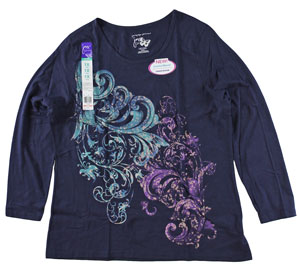 RGRiley | Plus Size Long Sleeve Navy Print Tee Shirt | Bulk Wholesale Closeout