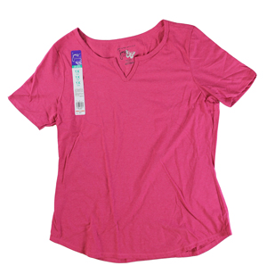 RGRiley | Hanes Plus Size Jazzberry Pink Split Neck T-Shirts | Closeout