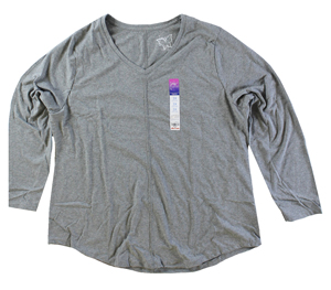 RGRiley | Hanes Plus Size Grey Heather Long Sleeve V-Neck T-Shirts | Closeout