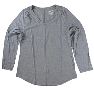 RGRiley | Hanes Plus Size Dada Grey Long Sleeve V-Neck T-Shirts | Closeout