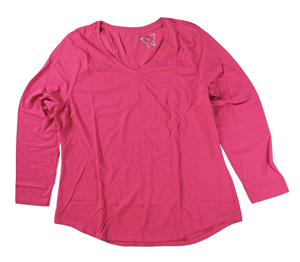 RGRiley | Hanes Plus Size Jazzberry Pink Long Sleeve V-Neck T-Shirts | Closeout