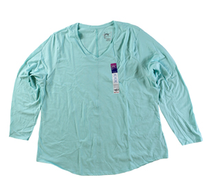 RGRiley | Hanes Plus Size Mint Long Sleeve V-Neck T-Shirts | Closeout