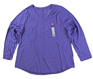 RGRiley | Hanes Plus Size Lavender Long Sleeve V-Neck T-Shirts | Closeout
