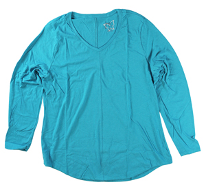 RGRiley | Hanes Plus Size Blue Heather Long Sleeve V-Neck T-Shirts | Closeout
