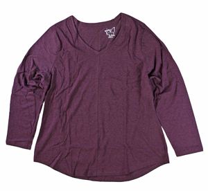 RGRiley | Hanes Plus Size Plum Heather Long Sleeve V-Neck T-Shirts | Closeout