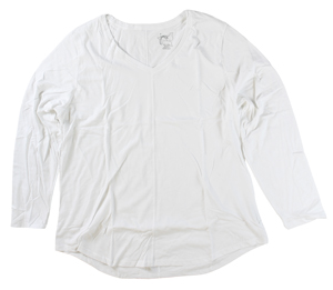 RGRiley | Hanes Plus Size White Long Sleeve V-Neck T-Shirts | Closeout