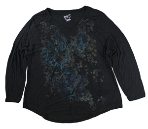 RGRiley | Hanes Plus Size Ebony Printed Long Sleeve V-Neck T-Shirts | Closeout